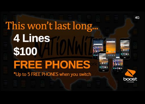 Cell Phone Plans- 4 Lines for $100 and 5 FREE PHONES!